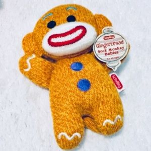 Schylling gingerbread monkey sock plush NWT